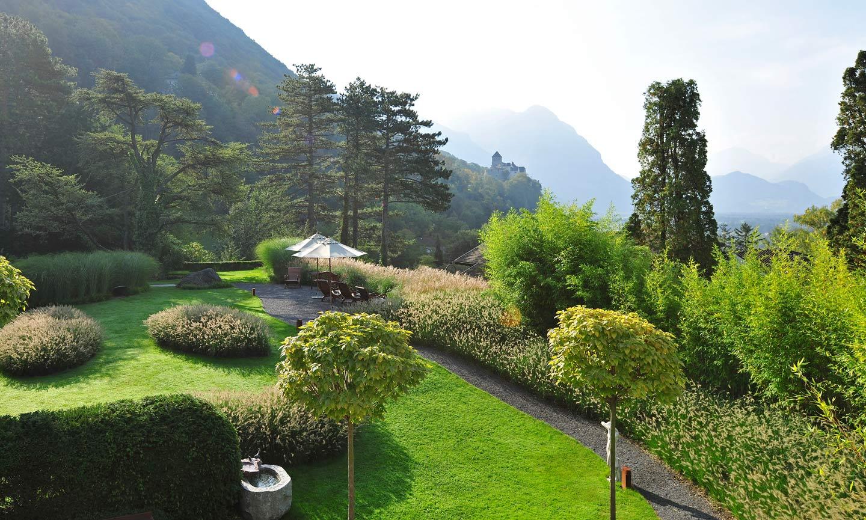 the garden at the romantic hotel sonnenhof in vaduz